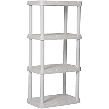 Blue Hawk 4 Tier Plastic Freestanding Shelving Unit Storage Shelf Shelves Rack White