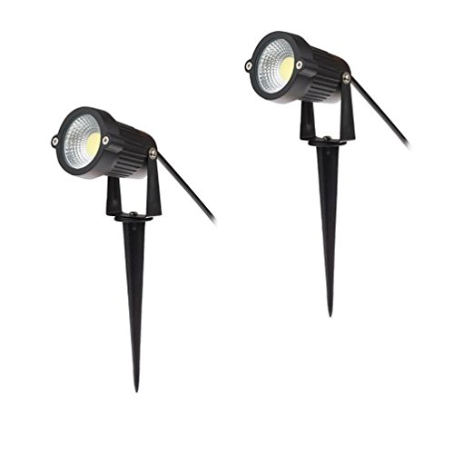 Familite Outdoor Waterproof Decorative Spotlight-6W COB LED Landscape Garden Wall Yard Path Light AC/DC 12V with Spiked Stand, Pack of 2 (Cool White (Garden Spike Lights)