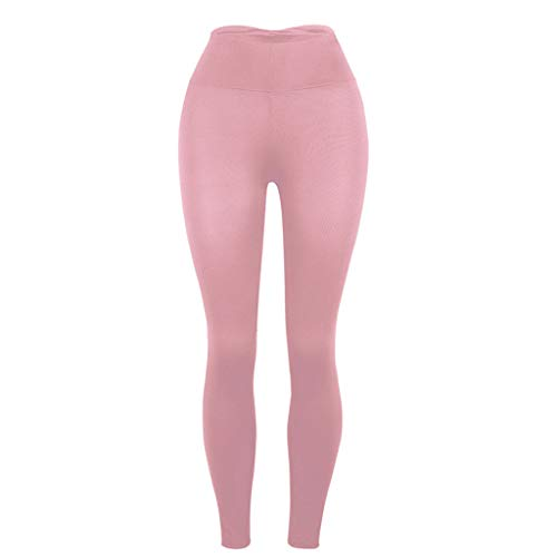 (High Waist Out Solid Color Yoga Pants ◆◆HebeTop◆◆ Tummy Control Workout Running 4 Way Stretch Yoga Pink)
