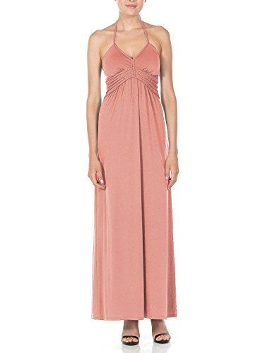 Silver Gate Womens Halter Maxi Dress with Braid Detail