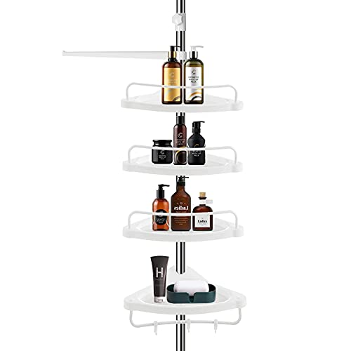 Shower Caddy,Constant Stainless Steel Corner shower caddy tension pole with 4-Tier Adjustable Bathroom Shelf,Height Among 3.12 to 9.85ft.