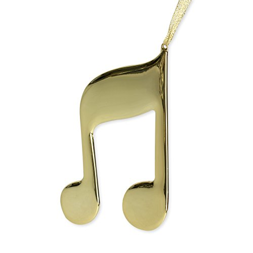 Gold Double 8th Note Music Instrument Replica Christmas Ornament, Size 4 inch