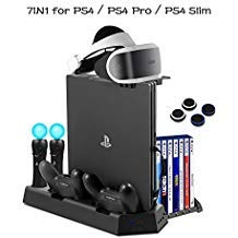 - PS4 Vertical Stand Cooling Fan Universal for PlayStation 4 Slim PS4 Pro Consoles Dualshock4 Controller Charging Station for PS Move Motion Charger Dock with Game Discs Storage Holder, PSVR Glass Tray