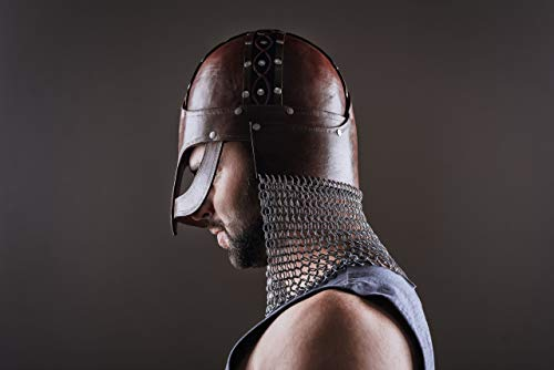 Norse Tradesman Handcrafted Viking Leather Helmet - Helm of Awe