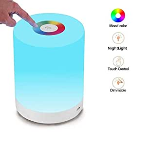 LED Night Light,FiDi Tek Touch Control Chargeable Smart Bedside Table Lamp,Dimmable RGB Color Changing Modes for Kid Baby Bedroom,Office and Camping