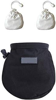 Chalk Bag with 2 Chalk Balls, Belt, Carabiner Clip, Brush Loop and Zippered Pocket for Climbing, Bouldering, G