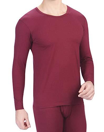Abetteric Men Crew Neck Lycra Cotton Thermal Underwear Long Johns Set Wine Red L