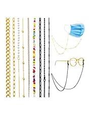 Juego de 9 soportes de cadena para cubrebocas alrededor del cuello para mujer, cadena de lentes, de color oro y negro y cordón antipérdida