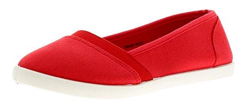 Butterfly Amily Damen Leinen Schuhe Rot - Rot - UK Größen 3-8