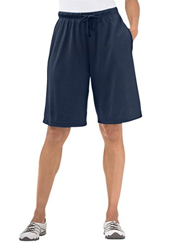 Women's Plus Size Shorts In Soft Sport Knit Navy,2X