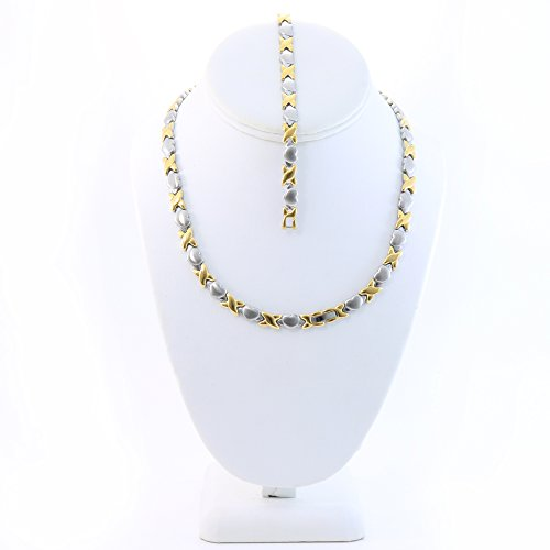 Hugs 18' (Hugs and Kisses Stainless Steel Stampato Necklace and Bracelet Set Two Tone Heart Style 18'')