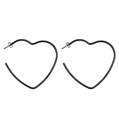 FOCALOOK Heart Earrings Stainless Steel Large Geometric Dangle Fashion Hoops Earrings for Women 60MM ()