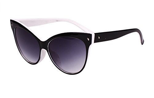 Beison Womens Cat Eye Retro Vintage Sunglasses Eyeglasses (Black and White, Gradient - Black Gradient White