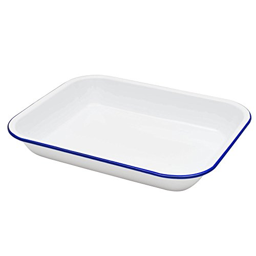 Enamelware Large Roasting Pan - Solid White with Blue Rim - Falcon Enamelware