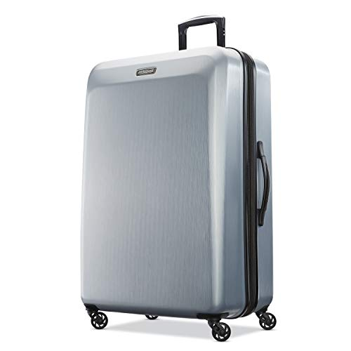 American Tourister Moonlight Hardside Expandable Luggage with Spinner Wheels, Silver, Checked-Large 28-Inch