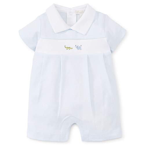 Kissy Kissy Premier Baby Boys Animal Crackers - Striped Short Collared Playsuit w/Embroidery - Light blue-12-18mos