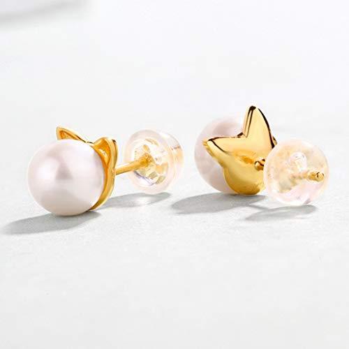 - LGJZZ S925 Sterling Silver Stud Earrings Cute Kitty Freshwater Pearl Plated 9K Gold Women's Earrings