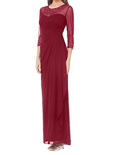 Neu 2018 Brautmutterkleider mit 4 Langarm Etuikleider Braut Elegant La Festlichkleider Abendkleider Ballkleider 3 Weinrot mia 0xBSqAwtI
