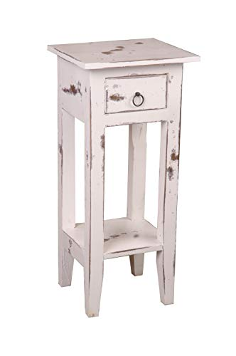 Sunset Trading CC-TAB1792HD-WW Shabby Chic Cottage Table, Small One Drawer, Heavy distressed whitewash (White Wash Antique)