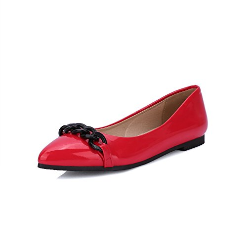 Odomolor Women's PU Pointed-Toe Low-Heels Pull-On Solid Pumps-Shoes, Red, 33