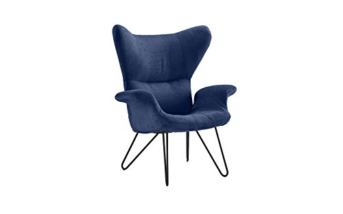 Accent Chair for Living Room, Linen Arm Chair with Natural Wooden Legs (Navy) by Divano Roma Furniture (Image #2)