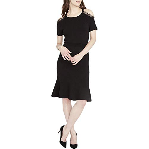 Rachel Rachel Roy Cold-Shoulder Lace-Trim Dress Black for sale  Delivered anywhere in USA