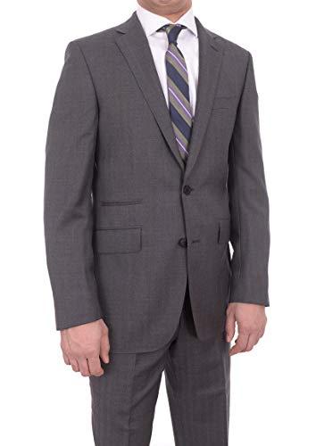 (Napoli Slim Fit Navy Blue Pinstripe Super 130's Wool Suit With Wide Peak Lapels)