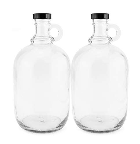 (64-Ounce/Half Gallon Clear Glass Kombucha Growler Jugs w/Polycone Phenolic Lids (2-Pack); Great for Home Brew, Distilled Water, Cider & More)