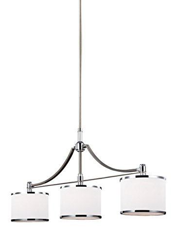 Feiss F3086/3SN/CH Prospect Park Island Chandelier Lighting with Glass Shades, Satin Nickel, 3-Light (39
