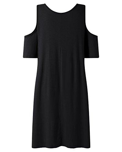 Shirt Neck Black 2 Sleeve Tunics Hem T Dresses Fit Women's Crew Short SUNNYME Irregular Loose 4Oqw0IWTSS