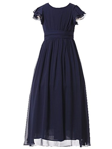 (Happy Rose Flower Girl's Dress Prom Party Bridesmaid Dress Long Navy 14)