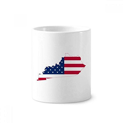 Kentucky USA Map Stars Stripes Flag Shape Ceramic Toothbrush Pen Holder Mug White Cup 350ml Gift