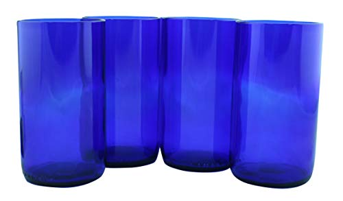 Tumblers Flat Bottom Made From Recycled Wine Bottles - set of 4 (Blue, 16 Oz)