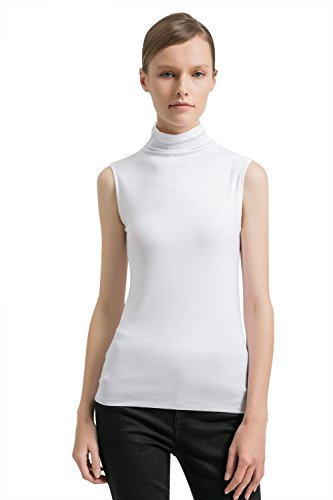 Spandex Mock Turtleneck - APRLL Women Sleeveless Turtleneck Pullover Plain Slim Fit T Shirt Top (XS-XL)