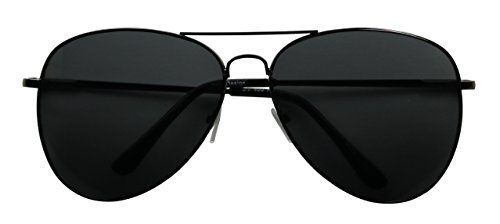 Basik Eyewear - Oversized Pilot Aviator XL Wide Frame Extra Large Sunglasses 150mm (Black Frame, Black - Black Oversized Aviators