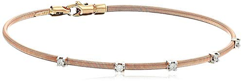 14k Rose Gold Fancy Wire Diamond with Lobster Clasp Lock Bangle Bracelet (1/10cttw, I-J Color, SI2-I1 - Bangle Beautiful Diamond
