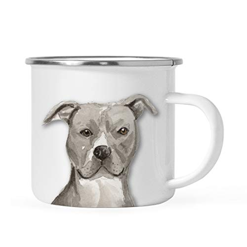 (Andaz Press 11oz. Stainless Steel Dog Campfire Coffee Mug Gift, Gray American Staffordshire Terrier Up Close, 1-Pack, Pet Animal Camp Camping Enamel Cup Modern Birthday Gift Ideas for Him Her Family)
