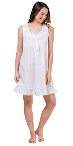 (Eileen West Short Sleeveless Cotton Lawn Nightgown In White Tropic (White, Small))