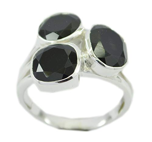 Jewellery 925 Sterling Silver comely Natural Black Ring, Black Onyx Black Stone Silver Ring -
