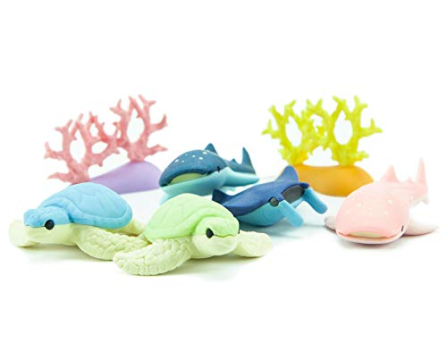 - Iwako Deep Sea Animals Turtle Shark Stingray Coral Reef Japanese Erasers