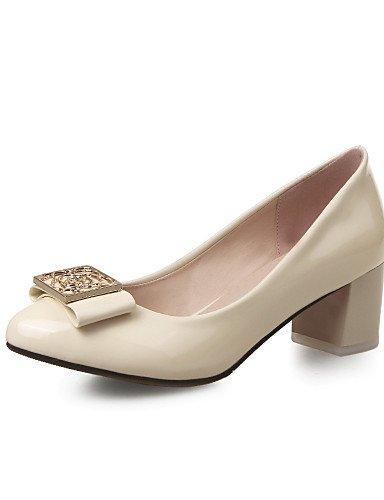 GGX/Damen Schuhe Patent Leder Sommer-/rund Toe Heels Büro & Karriere/Casual Chunky Ferse Blume blau/pink/beige blue-us7.5 / eu38 / uk5.5 / cn38