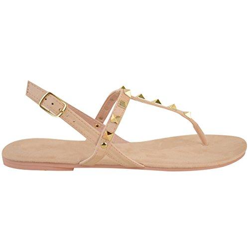 Fashion Assoiffé Womens Plat Cheville Strappy Clouté Sandales Dété Tongs Chaussures Taille Pastel Rose Faux Daim