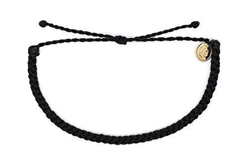 Pura Vida Mini Braided Black Beaded Bracelet - Silver Plated Charm, Adjustable Band from Pura Vida