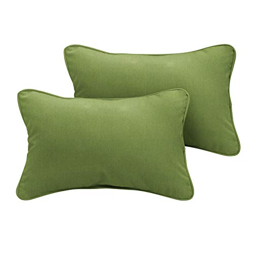 1101Design Sunbrella Spectrum Cilantro Corded Decorative Indoor/Outdoor Lumbar Throw Pillows, Perfect Patio Décor - Cilantro Green 12