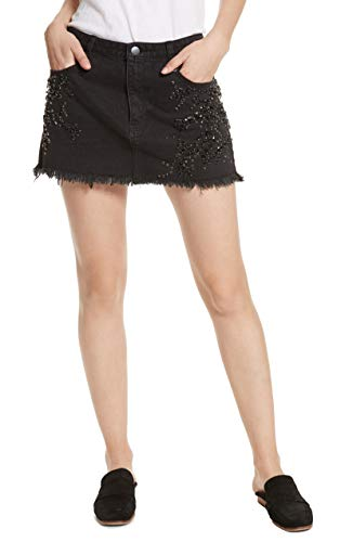 Free People Women's Embellished Frayed Mini Skirt Black 8