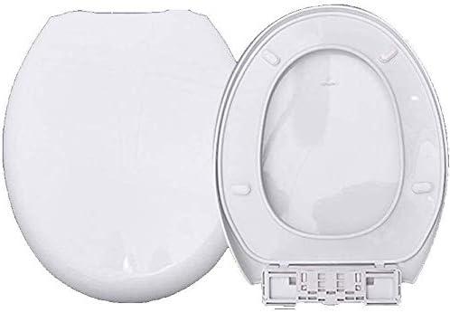 抗菌PPボード付きS-graceful便座ミュートウルトラ抵抗力があるO形便座用の超耐性トップマウントトイレ蓋、ホワイト-42〜44cm * 36.5cm