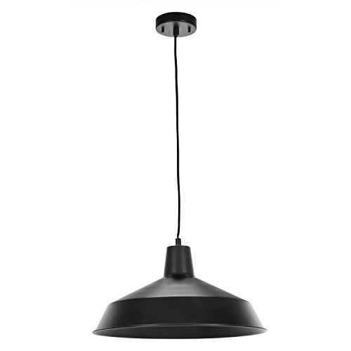 Globe Electric 65155 Barnyard 1-Light Pendant, Matte Black