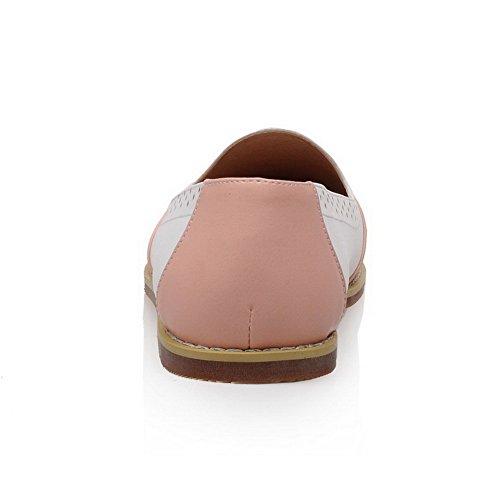 AllhqFashion Damen Ohne Absatz Gemischte Farbe Ziehen auf Rund Schließen Zehe Flache Schuhe Pink