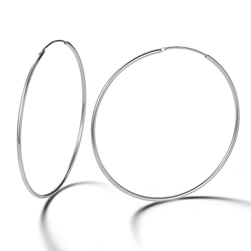 Gold Plated Sterling Silver Hoop - Carleen 14K White Gold Plated 925 Sterling Silver Dainty Endless Hoop Earrings for Women Girls (45mm)