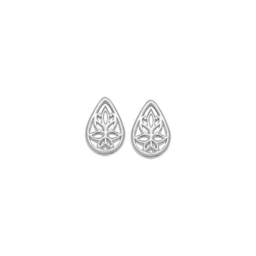 Boma Jewelry Sterling Silver Teardrop Lotus Flower Stud Earrings ()